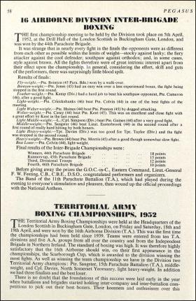 16 Airborne Division Boxing Article 1952
