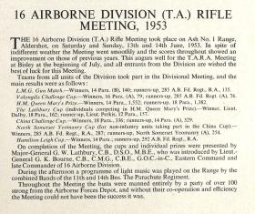 16 Airborne Division Rifle Competition Report 1953