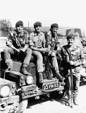 CALLSIGN 62, VOGALSANG, GERMANY 1975. LEFT TO RIGHT; PTE JOHN WARD, SGT PHIL OAKES, PTE MALC GAMBLE AND L/CPL RAY BANNER.