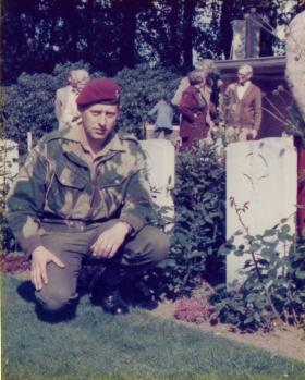 L/Cpl Glen Hammerton, 16 Lincoln Coy, paying his respects at Arnhem, 1977