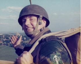 Sgt Johnny Ellis about to do a balloon jump on the West Common, with Lincoln Cathedral in his hand, 3 September 1977