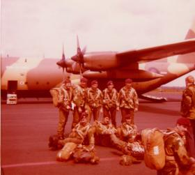 Members of 16 Coy ready to emplane at Newcastle Airport c1976-77