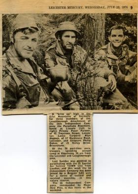 Newspaper article from Leicester Mercury about 16 Independent Company (V) in Germany, 1974.