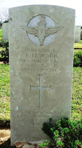 Grave of Pte Norman Leonard, Ramleh War Cemetery, Israel, 2015.