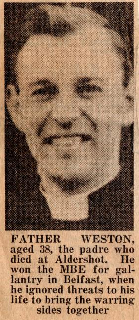 Newspaper extract on the death of Padre Gerry Weston, February 1972.