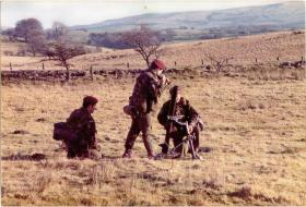 4 PARA Mortars load a 81mm Mortar on exercise, Stanford Training Area, 1980s