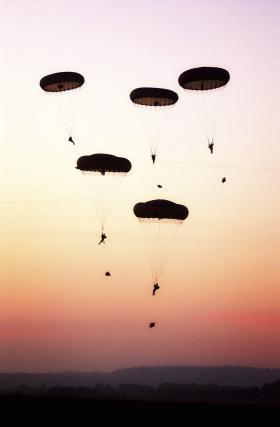 Troops from 16 Air Assault Brigade carry out a mass parachute jump, Salisbury Plain, 2003.
