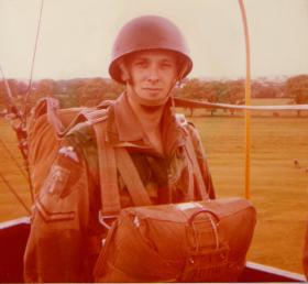 L/Cpl Nick Penistan in the balloon cage, Lincoln West Common, Summer 1978