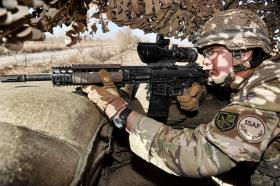A Paratrooper Takes Aim with an L129A1 Sharpshooter Rifle, Afghanistan, 2011
