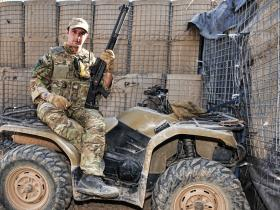 A Paratrooper with a Combat Shotgun on a Quad Bike, Afghanistan, 2011