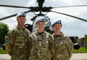 A member of 3 Regt AAC with Army Air Corps colleagues, Wattisham, 9 May 2103.