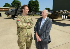 Maj Lewis, OC 656 Sqn with Second World War veteran Vince Weaver, 10 June 2013.