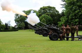 7th Parachute Regiment Royal Horse Artillery (7 PARA RHA) fired a 21-gun salute in Castle Park, Colchester, 15 June 2013.