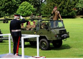 Members of 7 PARA RHA parade past Lord Petre, Colchester, 15 June 2013.
