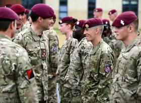 Brig N Borton DSO MBE, Cdr of 16 AA Bde with members 15 AACS Sqn during their final parade, 23 July 2013.