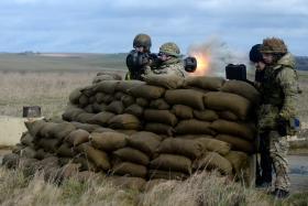 Firing a NLAW, Ex Blue Panzer, 2 PARA, Salisbury Plain, February 2014.