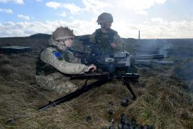 40mm GMG in use with 2 PARA, Ex Blue Panzer, Salisbury Plain, February 2014.