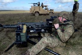 Firing .50 Cal HMGs, Ex Blue Panzer, 2 PARA, Salisbury Plain, February 2014.