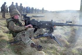 HMG in use with 2 PARA, Ex Blue Panzer, 2 PARA, Salisbury Plain, February 2014.