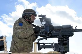 Detail view of a Grenade Machine Gun, Ex Blue Panzer, Salisbury Plain, February 2014.