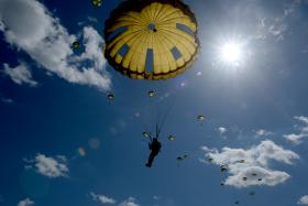 British and American troops take part in D-Day memorial jump