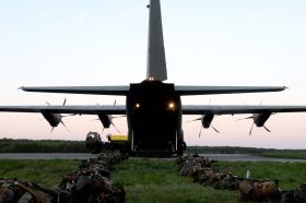 Ex Anakonda: British Airborne Soldiers prepare for a night jump, 2 October 2014.