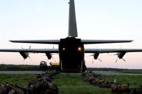 Ex Anakonda: British Airborne Soldiers prepare for a night jump, 2 October 2014.