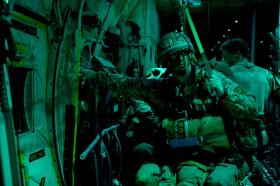 Ex Anakonda: A paratrooper waits to jump, 2 Oct 2014.