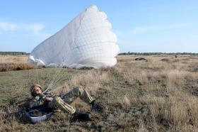 Ex Anakonda: a paratrooper lands on the training area, 2 Oct 2014.