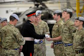 Lord Tollemache with 3 Regt AAC marking its final homecoming from Afghanistan, 13 November 2014.