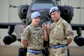 Members of 3 Regt AAC with their campaign medals, 13 November 2014.