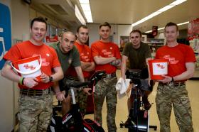 Soldiers cycle round the clock for charity, 17 March 2015.