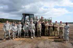 British and American sappers build runway together, Exercise Pegasus Gaul, 19 May 2015.