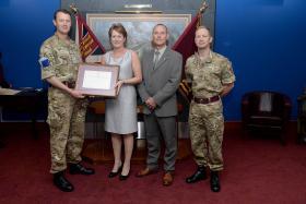 Army welfare worker Karen Hayes honoured as unsung hero, 14 May 2015.