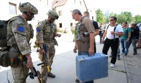 Colchester-based paratroopers training alongside Italian soldiers, 1 September 2015.