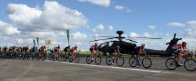 Tour of Britain sprints down Wattisham's runway, 12 September 2015.