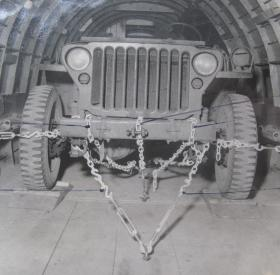 View of a jeep lashed inside a Horsa glider, c.1944