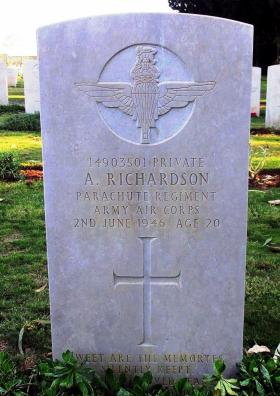 Grave of Pte Andrew Richardson, Ramleh War Cemetery, Israel, 2015.