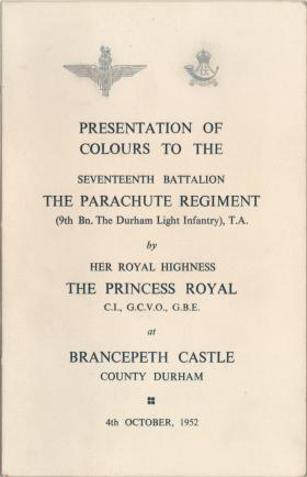 Booklet for the presentation of Colours to 17 PARA (TA), 1952.