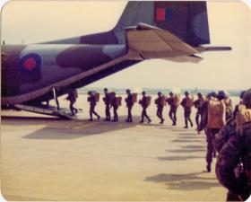 Pte Lee Crichton and the boys from 4 PARA board a 'Big Iron Bird' at Brize Norton, 1980s