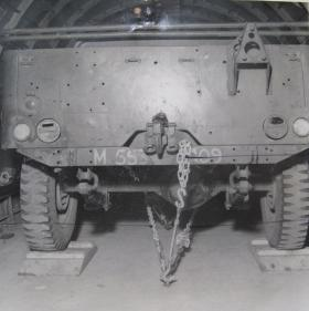 Rear view of Airborne jeep lashings in a Horsa glider, c.1944