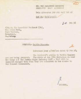 Letter regarding claim of 17th Battalion to bear DLI badge, 20 February 1956.