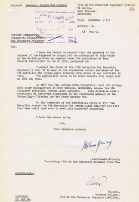 Letter regarding claim of 17th Battalion (9 DLI) TA to bear Regimental Colour, 15 February 1956.