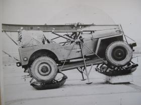 Airborne Jeep on a heavy dropping platform to be suspended from underwing of Hastings, c.1948-9