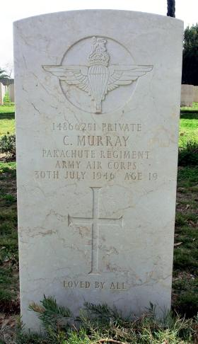 Grave of Pte Colin Murray, Ramleh War Cemetery, Israel, 2015.