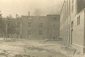Vintage photograph of monastery courtyard, Bure, Belgium, undated.