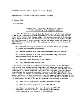 Parachute Training Report, Jan 1942