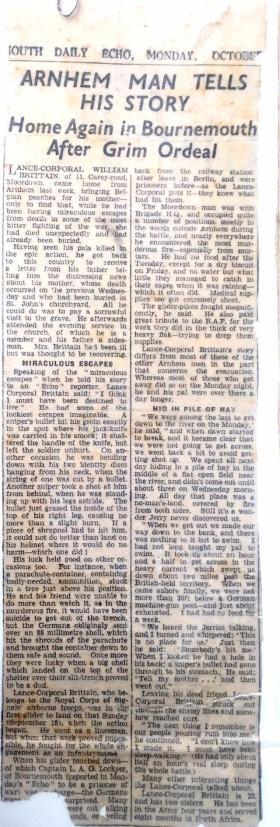 1945 newpaper report about L/Cpl Brittain.
