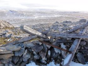 Remains of an Argentine position on west slope, Mount Longdon, 11 June 2012.