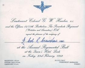 Invitation to the 12th/13th Battalion Annual Regimental Ball, 1962.